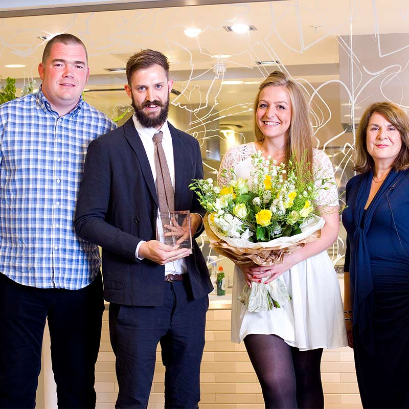 Brad, Holly & the Carters Team receive UK Regional Restaurant of The Year Award 2015 - presented by Nathan Outlaw, owner of Self Titled Two Star Michelin fish & seafood restaurant and Elizabeth Carter, Consultant Editor of The Good Food Guide